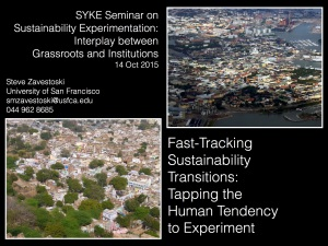 Zavestoski Sustainability Experimentation Talk cover